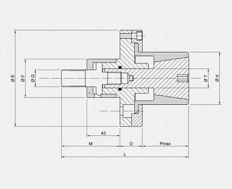 PE Collet Holders Adaptor - Technical drawing