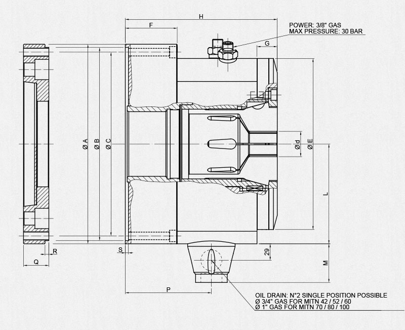 mitn collet chuck technical drawing