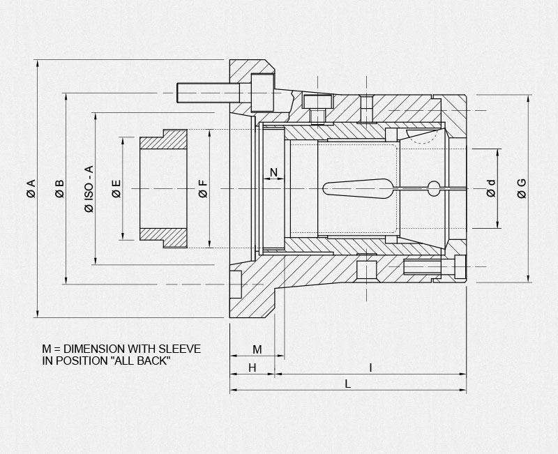 MSCTN/ISO-A collet holders technical drawing