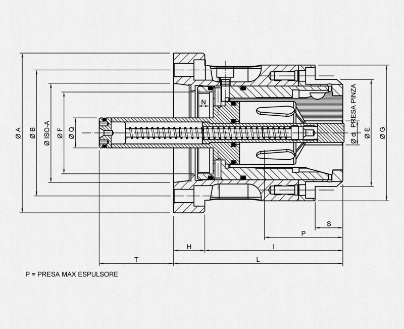 MSCTNR/ISO-A Collet Holder - Technical drawing