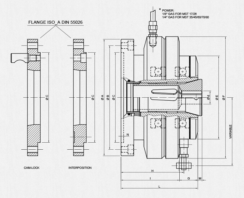 MST Collet Holders - Technical drawing