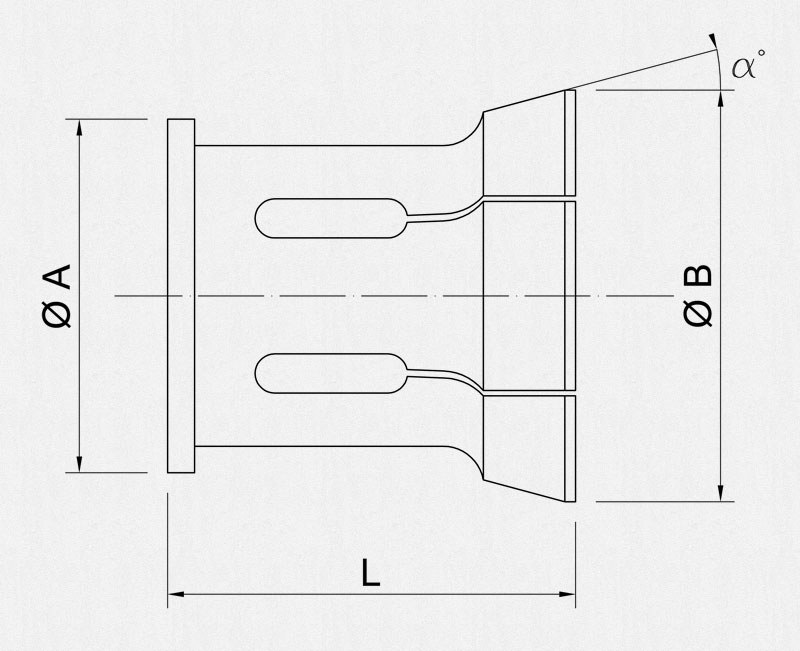 Shutte pickup collets technical drawing