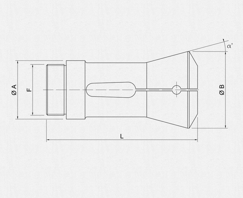 Schutte bar holding collets technical drawing